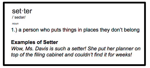 My own definition of the word setter