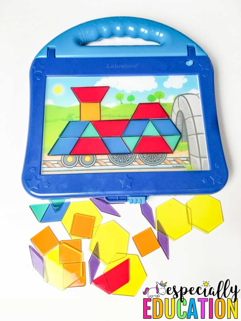 Geometric puzzle piece toy from Lakeshore Learning